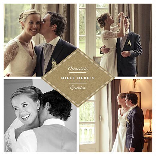 Carte de remerciement mariage Écusson 4 photos kraft