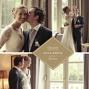 Carte de remerciement mariage marron écusson 4 pages kraft