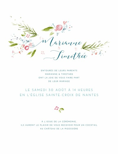 Faire-part de mariage Journée de printemps blanc