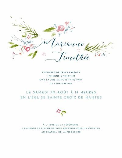 Faire-part de mariage Journée de printemps blanc finition