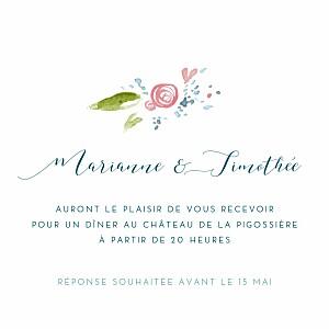 Carton d'invitation mariage original journée de printemps blanc
