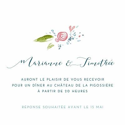 Carton d'invitation mariage Journée de printemps blanc finition