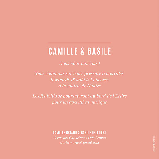 Faire-part de mariage Trait contemporain corail