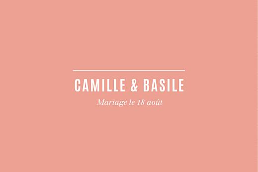 Carton d'invitation mariage Trait contemporain corail