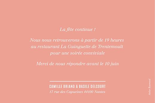 Carton d'invitation mariage Trait contemporain corail - Page 2
