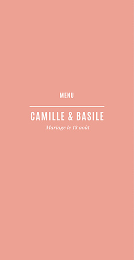 Menu de mariage Trait contemporain corail