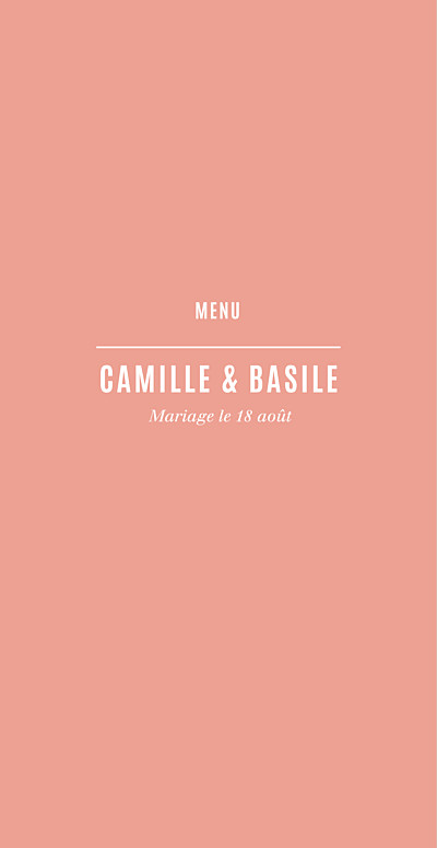 Menu de mariage Trait contemporain corail finition