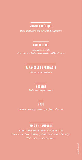 Menu de mariage Trait contemporain corail - Page 2