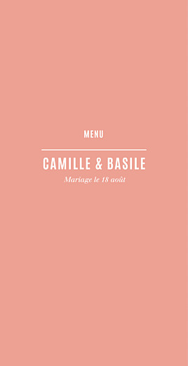 Menu de mariage Trait contemporain (4 pages) corail