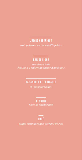 Menu de mariage Trait contemporain (4 pages) corail - Page 3