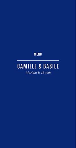 Menu de mariage Trait contemporain (4 pages) bleu nuit