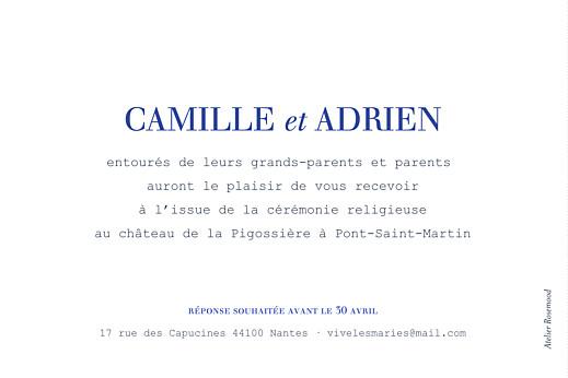 Carton d'invitation mariage Marin blanc