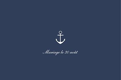 Carton d'invitation mariage Marin bleu finition