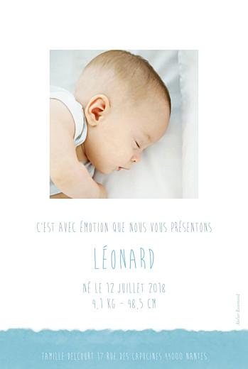 Faire-part de naissance Papier portrait photo bleu - Page 2