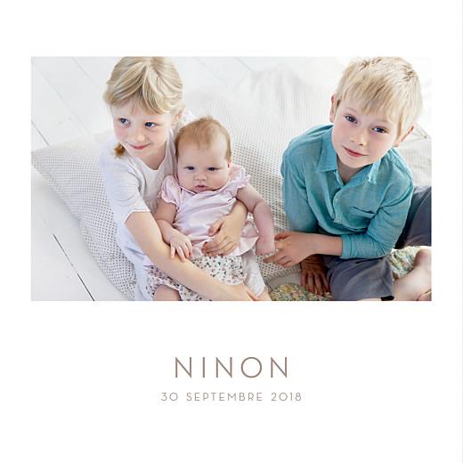 Faire-part de naissance Élégant 4 photos blanc