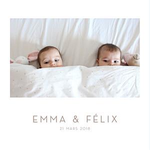 Faire-part de naissance polaroid élégant jumeaux 4 photos blanc