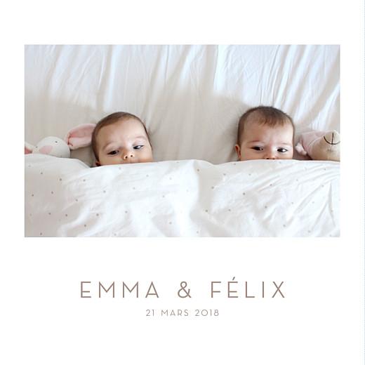 Faire-part de naissance Élégant jumeaux 4 photos blanc