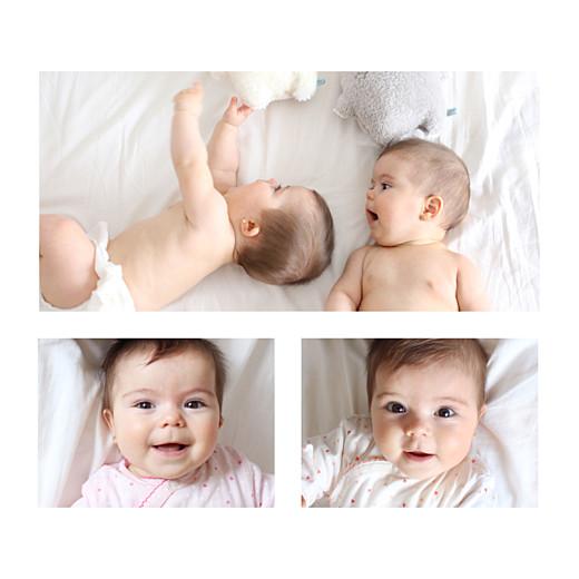 Faire-part de naissance Élégant jumeaux 4 photos blanc - Page 2