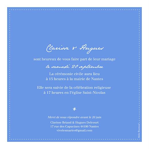 Faire-part de mariage Carré contemporain bleu