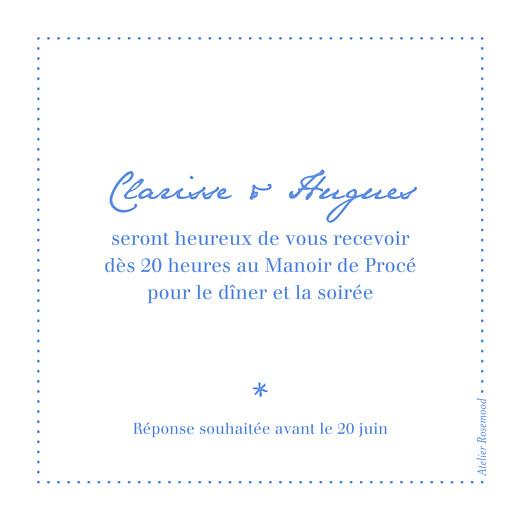 Carton d'invitation mariage Carré contemporain bleu