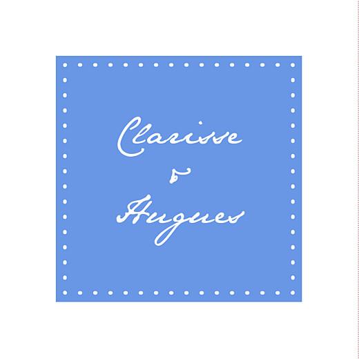 Etiquette perforée mariage Carré contemporain bleu