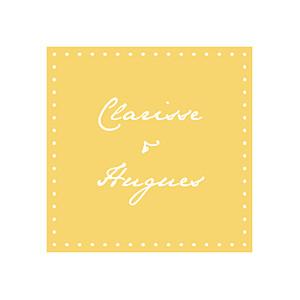 Etiquette de mariage jaune carré contemporain jaune