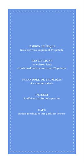 Menu de mariage Carré contemporain (4 pages) bleu
