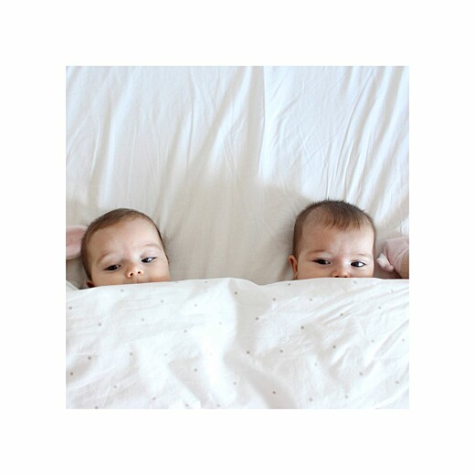 Faire-part de naissance Lovely family twins (triptyque) fille