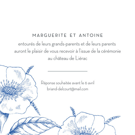 Carton d'invitation mariage Gravure chic bleu