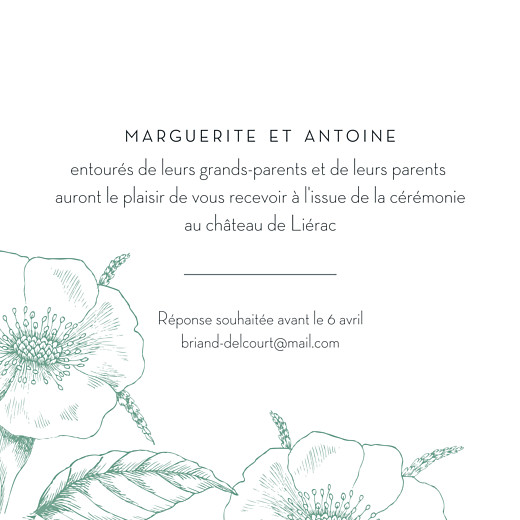 Carton d'invitation mariage Gravure chic vert