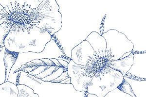 Carton réponse mariage moderne gravure chic bleu