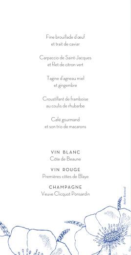 Menu de mariage Gravure chic bleu - Page 2