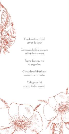 Menu de mariage Gravure chic (4 pages) corail - Page 3