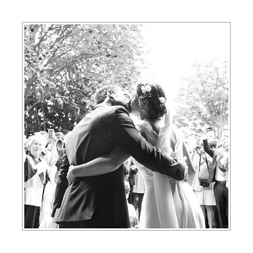 Carte de remerciement mariage Gravure chic bleu