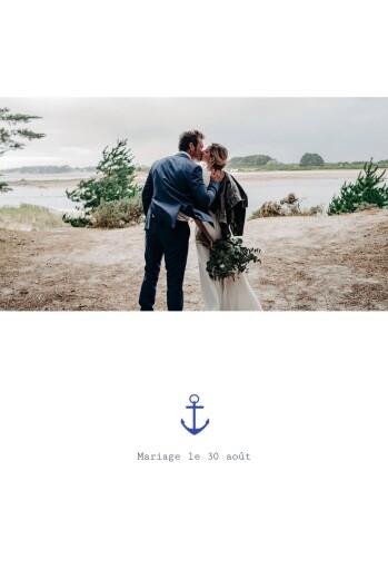 Carte de remerciement mariage Marin blanc