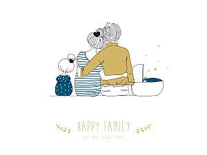 Affichette fille lovely family 2 enfants (baby) garçon