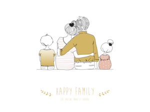 Affichette Lovely family 2 enfants fille