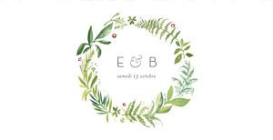 Faire-part de mariage original murmure de forêt (panoramique) vert