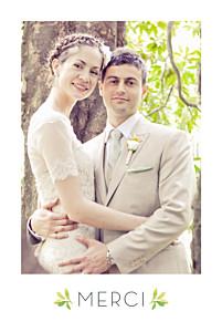 Carte de remerciement mariage vert murmure de forêt vert