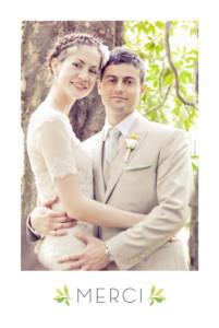 Carte de remerciement mariage Murmure de forêt vert