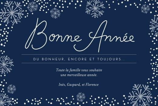 Carte de voeux Flocons de neige 3 photos bleu