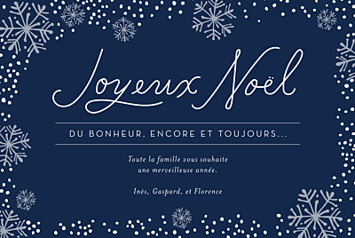Carte de voeux Flocons de noël 3 photos bleu finition