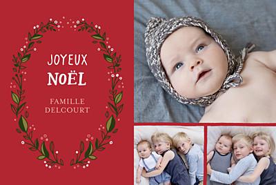 Carte de voeux Couronne de décembre (3 photos) rouge finition