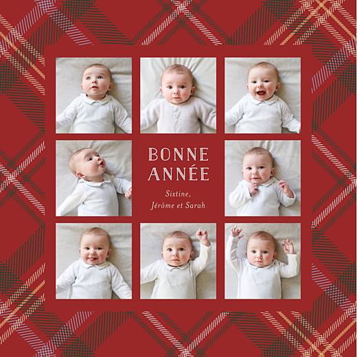 Carte de voeux Tissu écossais 8 photos rouge