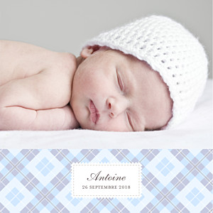 Faire-part de naissance clémence gantois écossais 4 photos bleu ciel