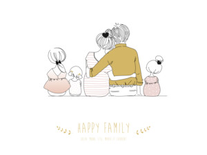Affiche Lovely family 3 enfants filles