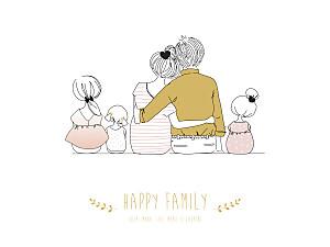 Affichette Lovely family 3 enfants filles