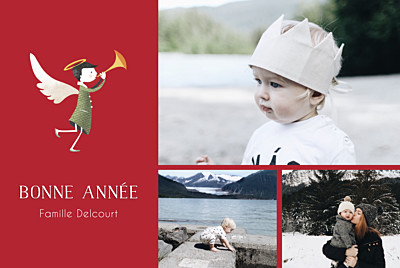 Carte de voeux Ange (3 photos) rouge finition