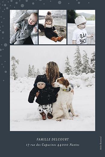 Carte de voeux Mille flocons 4 photos (dorure) beige