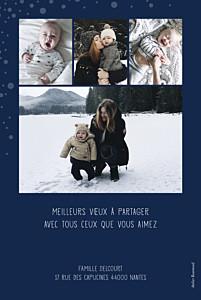 Carte de voeux Mille flocons 5 photos (dorure) bleu